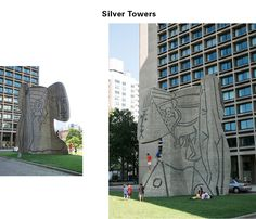 IM Pei housing structure fronted by a Pablo Picasso sculpture