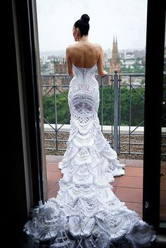 Crochet wedding dress. Designer unknown. A true labor of love.