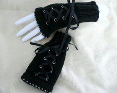 Steampunk gothic mittens fingerless gloves by blackunicorndesigns, £14.00