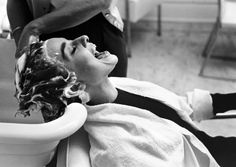 Audrey Hepburn* getting her hair washed - photo by mark shaw during the filming of Sabrina, 1953 #DressingRoom