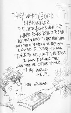 """Cartoonist Chris Riddell illustrated some things Neil Gaiman said in a lecture about libraries, and they are just awesome. Neil Gaiman's love of libraries is well known and it is great to see Chris Riddell make them a source of inspiration. Cool Books, I Love Books, Books To Read, My Books, Library Quotes, Library Books, Library Memes, George Orwell, Reading Quotes"
