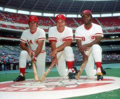 Cincinnati Reds infielder Pete Rose, catcher Johnny Bench, and Joe Morgan pose for a portrait at Riverfront Stadium.