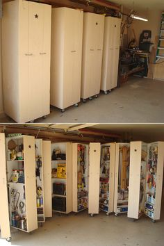 DIY :: garage tool cabinets with wheels http://www.hometalk.com/137368/i-finally-got-tired-of-having-all-my-tools-scattered-all-over-my-garage-and-decided