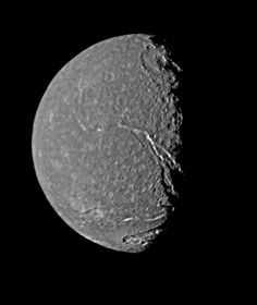 Titania, Uranus' largest moon, observed from Voyager 2 revealing a fault valley nearly 1000 miles long. NASA/JPL