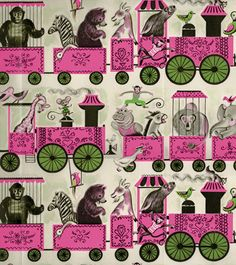 vintage wrapping paper circus train