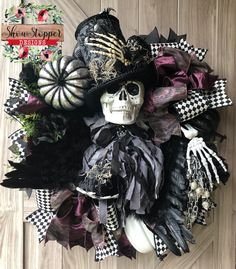 Summer Wreath,Patriotic Wreath,Home Decor,Wired Ribbon by ShowStopperDesigns Halloween Mesh Wreaths, Deco Mesh Wreaths, Fall Wreaths, Halloween 2019, Halloween Themes, Halloween Decorations, Halloween Stuff, Wreath Supplies, Space Theme
