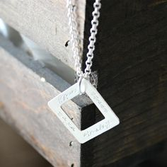 Personalized sterling silver thick square washer necklace - Lee Necklace | 2 Sisters Handcrafted #personalizedjewelry #handstamped #modernmommynecklace