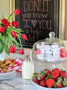 DONUT you know I LOVE YOU a hole lot! Super simple treat or Valentine breakfast - mini powdered donuts - Simple Details