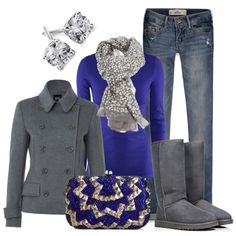 Love the blue sweater with the silver scarf! I never thought about a silver scraf, genius!!