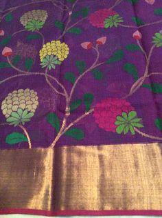 Purple pure zari kota with all over thread weaving design