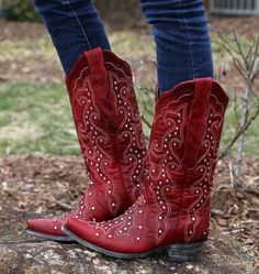 Old Gringo Celeste Crystal Red Boots Red Cowgirl Boots, Cowgirl Belts, Womens Cowgirl Boots, Red Boots, Western Boots, Western Style, Western Wear, Country Style, Sock Shoes