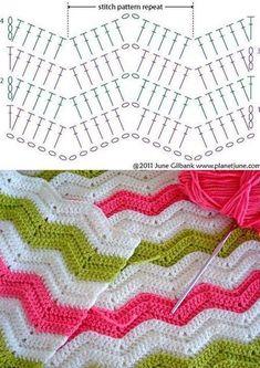 Zig Zag Crochet Pattern, Chevrons Au Crochet, Crochet Bedspread Pattern, Crochet Ripple Blanket, Gilet Crochet, Crochet Diagram, Crochet Chart, Crochet Stitches Patterns, Crochet Designs