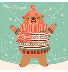 Christmas card with a cute brown bear vector by Baksiabat on VectorStock®