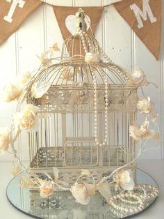 Vintage Style Decorative Bird Cage Wedding Table Centerpiece Birdcage Cream NEW