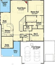 2 Bed Bungalow with Rear Covered Patio - 64410SC | Architectural Designs - House Plans