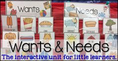 Are you teaching WANTS AND NEEDS soon? Grab this print and play pack to make it easy to Print... and play to learn all about wants & needs. #kindergarten #lessonplans #teaching #printables