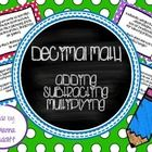 The set includes 36 task cards for students to practice adding, subtracting and multiplying decimals. Each task card is in a word problem format. T...