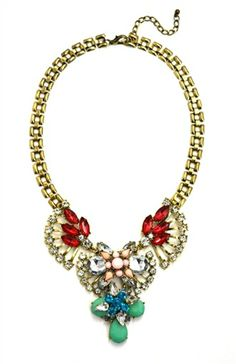 DaisyGem | Designer Pink Red Green Jeweled Rhinestone Stone Drop Flower Pendant Gold Necklace