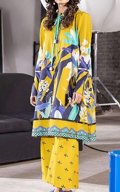 Lawn Suits, Cotton Suit, Famous Brands, Sapphire, Kimono Top, Cover Up, Yellow, Clothes, Tops