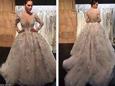 Hlboký výstrih Nášivky Korálky plesové šaty svadobné šaty Vlastné veľkosť 6 8 10 12 14 16+