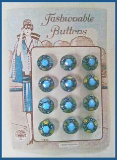 Vintage Czechoslovakia glass buttons on original card with fun art deco background.
