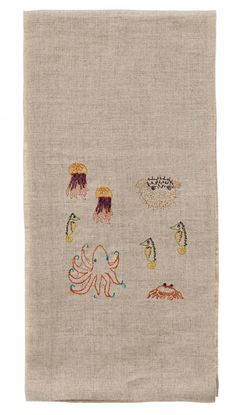 Coral & Tusk embroidered linen Swim Tea Towel - http://www.coralandtusk.com/collections/table/products/embroidered-swim-tea-towel
