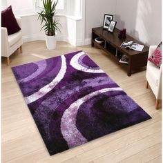 Hand-tufted Purple Shag Area Rug (5' x 7')