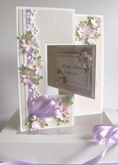 Tiulu z fioletem część druga - Idea only! Flip Cards, Fancy Fold Cards, Folded Cards, Wedding Anniversary Cards, Wedding Cards, Diy Wedding, Wedding Favors, Carte Swing, Swing Card