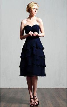 Unique Princess Knee-length Sweetheart Dark Navy Chiffon Dress