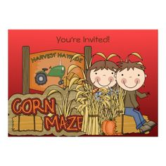 Corn Maze Autumn Party Invitations in each seller & make purchase online for cheap. Choose the best price and best promotion as you thing Secure Checkout you can trust Buy bestThis DealsHere a great deal. Halloween Birthday Invitations, Fall Birthday Parties, Kids Birthday Party Invitations, Holiday Invitations, Invitations Online, 9th Birthday, Invites, Halloween Invitaciones, Scooby Doo