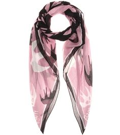 McQ Alexander McQueen - Printed scarf - McQ Alexander McQueen's signature swallow motif covers this lightweight scarf for an iconic finish to any urban ensemble. The violet base is decorated with the iconic birds in white and black for a look that pairs equally well with brights as it does with neutrals. Style with a leather jacket for downtown attitude. seen @ www.mytheresa.com