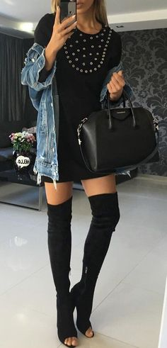 #fall #outfits · Black Dress // Leather Tote // Denim Jacket // Knee Length Boots