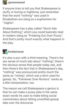 Shakespeare's Much Ado About Nothing pun
