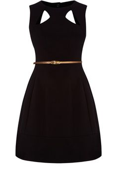 This full skirted dress has cut out detailing to neck and back with a belt fastening to cinch in the waist. Sleeveless in style, this piece is a great fashion piece for the workplace.