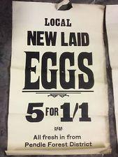 vintage grocery shop advert 1920's antique eggs English Pendle poster