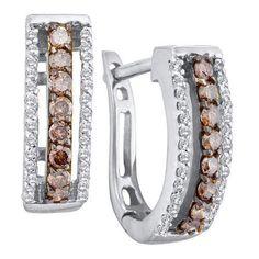 Cognac Diamond Earrings 0.48CTW COGNAC DIAAMOND FASHION LADIES EARRING Studs 14KT White Gold