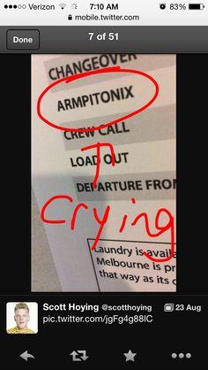 Scott Hoying tweet- lol armpitonix! I'm dying