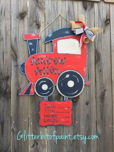 Train Hospital Door Hanger, Birth Announcment and Nursery Art