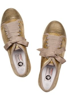 lanvin metallic cracked-leather sneakers
