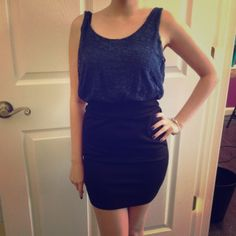 SALENavy blue and black lace top dress Cotton, lace navy blue top with black bottom, light and nice for summer Forever 21 Dresses