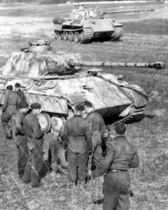 """This photo shows the members of 1.Zug / 6.Kompanie / SS-Panzer-Regiment 5 """"Wiking"""" along with their main mounts, which were taken in the SS-Truppenübungsplatz Heidelager (located between Debica and Sandomierz in Poland), beginning in May 1944."""