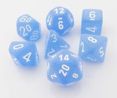 Keep cool with Frosted Dice (Blue). This RPG dice set is perfect for Dungeons & Dragons, Pathfinder, and all your favorite role playing games. This 7-piece set has all your favorite dice: d4, d6, d8,
