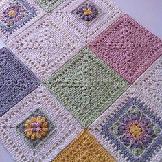 Crochet Bedspread Pattern, Baby Afghan Crochet, Crochet Quilt, Manta Crochet, Granny Square Crochet Pattern, Crochet Squares, Crochet Motif, Crochet Blocks, Knit Crochet