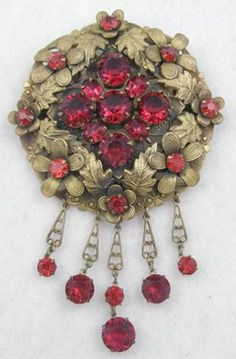 Czech Red Rhinestone Brass Brooch - Garden Party Collection Vintage Jewelry