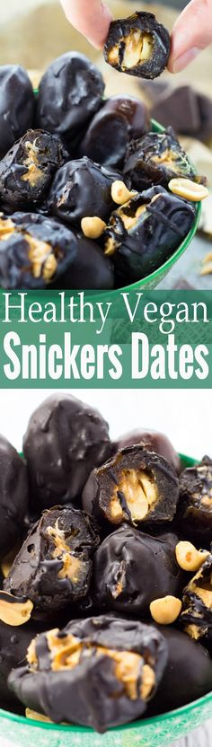 These peanut butter stuffed dates with chocolate are like vegan snickers, just sooo much healthier and insanely easy to make!! One of my favorite vegan desserts! <3