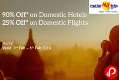 MakeMyTrip offers 90% off on Domestic Hotels. Valid 3rd Feb – 6th Feb 2016. 70% up to 2,600 (Instant Discount) + 20% up to 1,400 (Cashback To Wallet), Use Wallet & Save 40% More (Upto Rs.4000). MMT Coupon Code – HTLFLT  http://www.paisebachaoindia.com/get-upto-90-off-on-hotel-bookings-makemytrip/