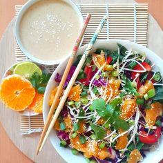 Raw vegan Pad Thai with orange.