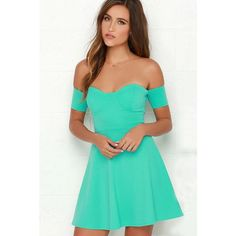 Kalolia Sexy Boat Neckline Off The Shoulder A Strapless Dress ($36) ❤ liked on Polyvore featuring dresses, mint green, sexy dresses, green mini dress, short dresses, sexy mini dress and short green dress