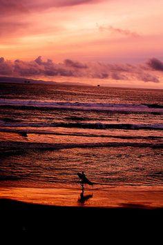 Sunset at Huntington Beach, California
