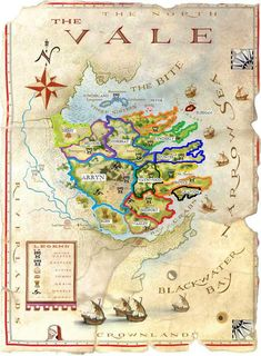 The Vale borders - Walyou Game Of Thrones Westeros, Westeros Map, Arte Game Of Thrones, Game Of Thrones Books, Fantasy Map, High Fantasy, Fantasy Series, Got Map, Game Of Thones